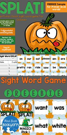 SPLAT! A Primer Sight Word FREEBIE!   How about a sight word game your littles will LOVE?  My intervention kiddos and my kindergartners loved playing SPLAT! in small groups. You could even play in a whole group if you print two sets and use it as a matching game! Download a free copy from TpT and get the small group directions by clicking the image above!  1st grade Dolch sight words Halloween Center Halloween literacy Halloween sight word game K-2 Kindergarten October games Primer sight…