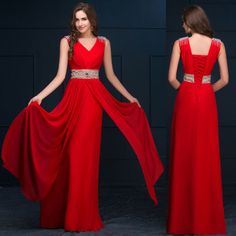 Women Long Evening Party Ball Prom Gown Formal Bridesmaid Cocktail Dress Red  | eBay