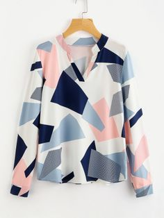Sheinside Autumn Abstract Geo Print Patchwork Ladies Blouse Women's V Neck Long Sleeve Casual 2017 Fall Collar Tunic Blouse Muslim Fashion, Hijab Fashion, Fashion News, Fashion Outfits, Women's Fashion, Spring Shirts, Blouse Online, Printed Blouse, Romwe