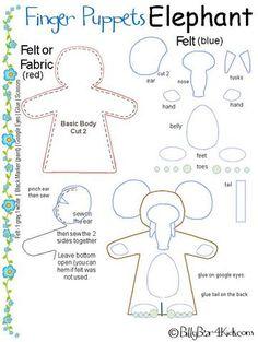 free pattern finger puppet elephant