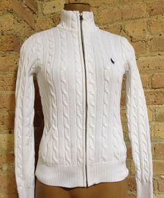 Ralph Lauren Sport Sweater sz Small White Cable Knit Blue Polo Pony Jacket S  #RalphLauren #FullZip #ebay #shoptheworld #options #shopjenibeni #thrift #neverpayfullprice #vintagegirl #sweaters
