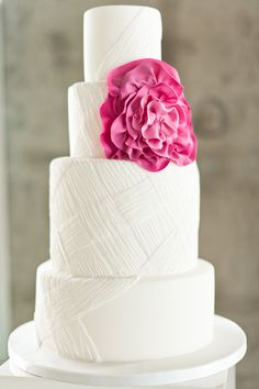 white and pink wedding cake by Olofson Design