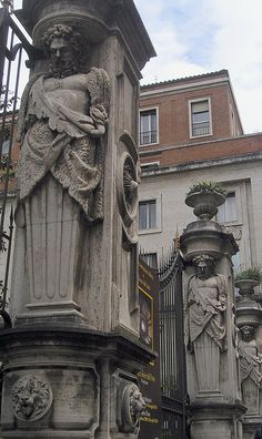 Caryatids decorate the entrance to the Palazzo Barberini, Rome. by Bob Gorman via Flickr.