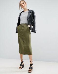 ASOS Twill Midi Skirt with Pockets