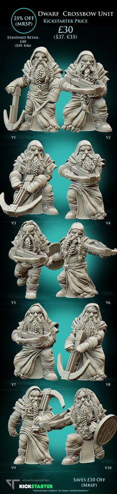 Dwarf Crossbow Unit | 28mm Dwarf Miniatures by Atlantis Miniatures — Kickstarter