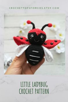 Little cute LADYBUG amigurumi crochet pattern You can buy and download 4 in 1 crochet patterns for spider, bee, ladybug and bug all together in my store