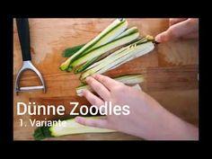 Du brauchst ein Messer, ein Sparschäler und Zucchini. Ice T, Celery, Asparagus, Zucchini, Vegetables, Food, Easy Cooking, Knives, Tips And Tricks