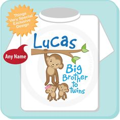 Boys Big Brother To Twins Monkey Shirt Or By ThingsVerySpecial Cousin Gifts Girl