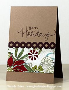 Note 2 self : change out the sentiment to make it an everyday card...great way to use some of the paper slabs I have with busy patterns : )