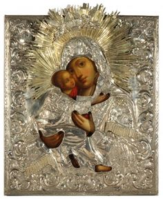 A RUSSIAN ICON OF THE VLADIMIRSKAYA MOTHER OF GOD (UMILENIE) IN A GILT SILVER OKLAD ST. PETERSBURG 1841