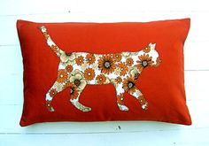 unique handmade appliqued boheme orange decor pillow by lamoppe, Ft6000.00
