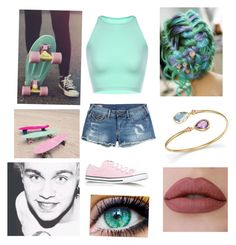 """""""Penny boarding with Michael"""" by myah-beaston ❤ liked on Polyvore featuring True Religion, Converse and Bloomingdale's"""