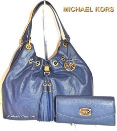 MICHAEL KORS Camden Lg Leather Drawstring Shoulder Tote Bag  & Wallet Set NWT #MichaelKors #handbags #purses #navy #wallets