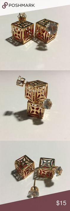 Red Ston Gold Square Double Sided Stud Earrings Stunning red stone gold square double sided stud earrings in gorgeous condition. No damage. Brand new with tags. T&J Designs Jewelry Earrings