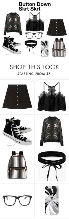 """""""Button-Down Skirt"""" by adam-ccxl ❤ liked on Polyvore featuring AG Adriano Goldschmied, Converse, Henri Bendel, Boohoo and STELLA McCARTNEY"""