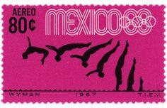 Wyman stamp design c. 1967 depicting diving silhouettes for 68 Olympics Mexico Olympics, 1968 Olympics, Mexico 68, Circus Illustration, Design Art, Graphic Design, Love Stamps, Postage Stamps, Pretty In Pink