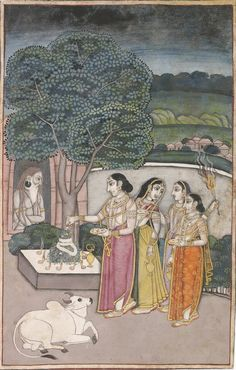Maidens at a lingam shrine beside a hermitage in which a fakir sits. Opaque pigments and gold on paper, Murshidabad, late century Islamic Paintings, Indian Art Paintings, Mughal Miniature Paintings, Mughal Empire, God Pictures, Art And Architecture, Art World, 18th Century, Fertility