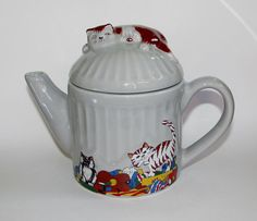 Vintage Judith Wootton Cats Garbage Trash Can by PuppyLuckArt