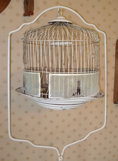 Antique Bird Cage With Stand  White Chippy by aprimitiveplace, listed in my Etsy shop.
