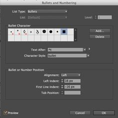 Working With Bulleted and Numbered Lists in InDesign | CreativePro.com