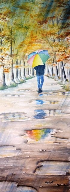 Paysages  - by Christian Colin - (rainy weather, umbrella, rain puddles)
