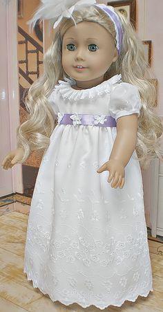CAROLINE ABBOTT REGENCY White Dress w/ Lavender by dollupmydoll