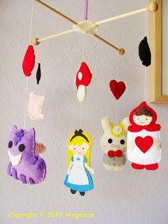 Hanging Nursery baby Mobile -- Alice in Wonderland