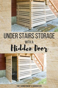 The area under our deck stairs was a magnet for clutter and leaves! Check out how I created storage under the deck with a removable fence panel! This hidden door makes it easy to access the storage underneath the stairs, but looks like a permanent fence w Outdoor Stairs, Deck Stairs, Deck Railings, Under Stairs, Outdoor Rooms, Front Porch Stairs, Front Deck, Basement Stairs, Front Porches
