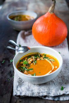 Roasted Kuri Squash Soup with Smokey Harissa, roasted chickpeas, toasted pumpkin…