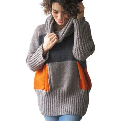 Winter New Gray & Orange Hand Knitted Sweater With Accordion Hood and... (6,400 INR) ❤ liked on Polyvore featuring tops, sweaters, grey, women's clothing, lightweight sweaters, womens plus size sweaters, hooded sweater, oversized gray sweater and womens plus sweaters