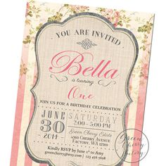 Girl Birthday Invitation -Typography - Flower  Shabby Chic Pink Stripes - Printable No.1061