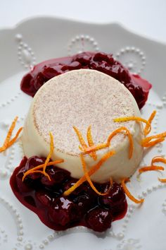 Egg Nog Panna Cotta With Cherry Compote