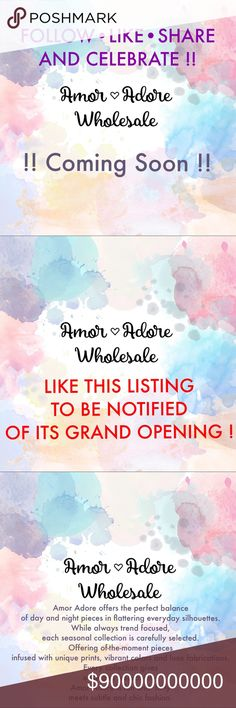 ❗️GOOD NEWS Posh Fam❗️Follow•Like•Share•Celebrate! ‼️I've been approved by poshmark to open my wholesale shop‼️  💕If you have access to the wholesale portal feel free to follow me. The page is tagged on the 1st Comment. New wholesale items coming soon! 💕  🔅If you would like to be notified please like this listing & tag yourself in the comments (ex: @shop_amoradore).🔅  🌷Happy Poshing & Look forward in bringing awesome styles!🌷 Amor Adore Other