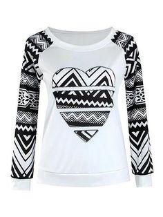 T-shirt longo de costura do O-pescoço da luva da cópia do coração das mulheres