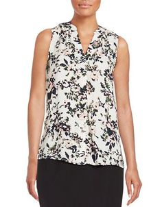 Lord & Taylor Abstract Floral Blouse Women's Solar Medium