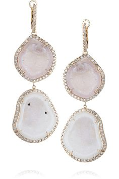 Kimberly McDonald                                  18-karat rose gold diamond and geode earrings