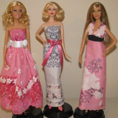 Ooak Barbie doll dresses made from vintage hankies