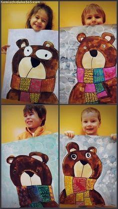 Kids art projects and Elementary art projects Kindergarten Art Lessons, Art Lessons Elementary, Winter Art Projects, School Art Projects, Art 2nd Grade, Art D'ours, Fun Art, Classe D'art, Ecole Art