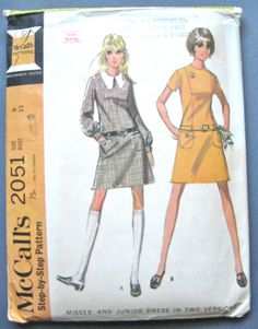 McCall's 2051 Mod Dress Pattern from the late 1960s by Fancywork