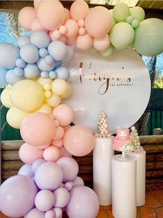 Birthday Balloon Decorations, Birthday Balloons, 1st Birthday Parties, Baby Shower Decorations, Pastel Party Decorations, Rainbow Unicorn Party, Unicorn Balloon, Rainbow Birthday Party, Ballons Pastel