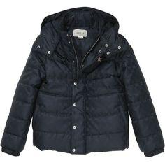 Gucci Kids-girls Logo Nylon Jacquard Jacket (2.575 BRL) ❤ liked on Polyvore featuring navy