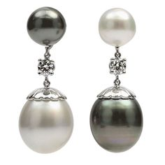 Stunning Pair of South Sea Tahitian Pearl Diamond Gold Earrings | From a unique collection of vintage drop earrings at http://www.1stdibs.com/jewelry/earrings/drop-earrings/