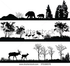 Illustration about Vector set of illustration with wild animals (bear, Flamingo, deer) in different habitats. Illustration of flamingo, beautiful, different - 66216994 Deer Head Silhouette, Silhouette Clip Art, Animal Silhouette, Deer Head Tattoo, Deer Vector, Deer Design, Watercolor Feather, Animal Heads, Stock Foto