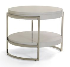 LAWSON ROUND SIDE TABLE, , hi-res  finish: sugar  materials: white lacquer  28 in. width x 28 in. depth x 22 in. height