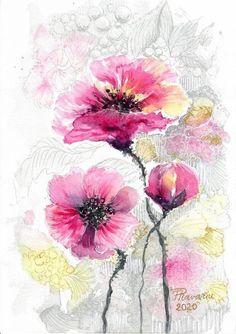 Printable Pink poppies watercolor painting JPG PDF digital art Watercolours, Watercolor Paintings, Original Paintings, Pink Poppies, Pink Roses, Digital Prints, Digital Art, Hidden Images, Note 8
