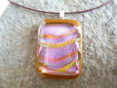 Hand Made Fused Glass Pendant Necklace Sparkling Dichroic Glass Pendant Necklace by RaventreeVintage on Etsy https://www.etsy.com/listing/254919377/hand-made-fused-glass-pendant-necklace