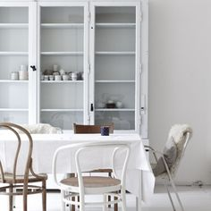 White thonet chair with caned seat