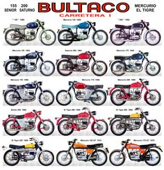Bultaco Motorcycles, Cool Motorcycles, Vintage Motorcycles, Bike Poster, Motorcycle Posters, Motorcycle Garage, Bultaco Mercurio, Cool Dirt Bikes, Motorcycle Manufacturers