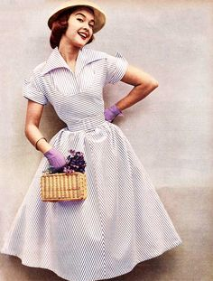 A striped dress featured in Australian Woman's Weekly (1952)