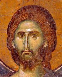 Лик Спасителя. Фрагмент фрески в церкви Спаса в монастыре Жича, Сербия. 1309 - 1316 годы.